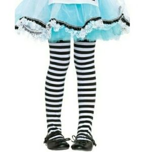 Kids Tights Stripe Black White Girls Costume Socks